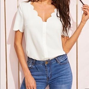 SHEIN Scalloped Blouse